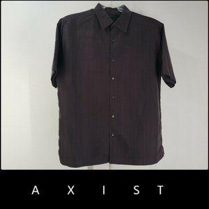 Axist Men Button Front Shirt Silk Touch Brown Sz L